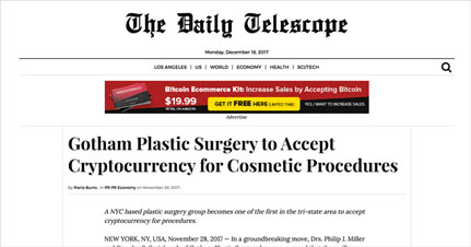 Gotham Plastic Surgery to Accept Cryptocurrency for Cosmetic Procedures